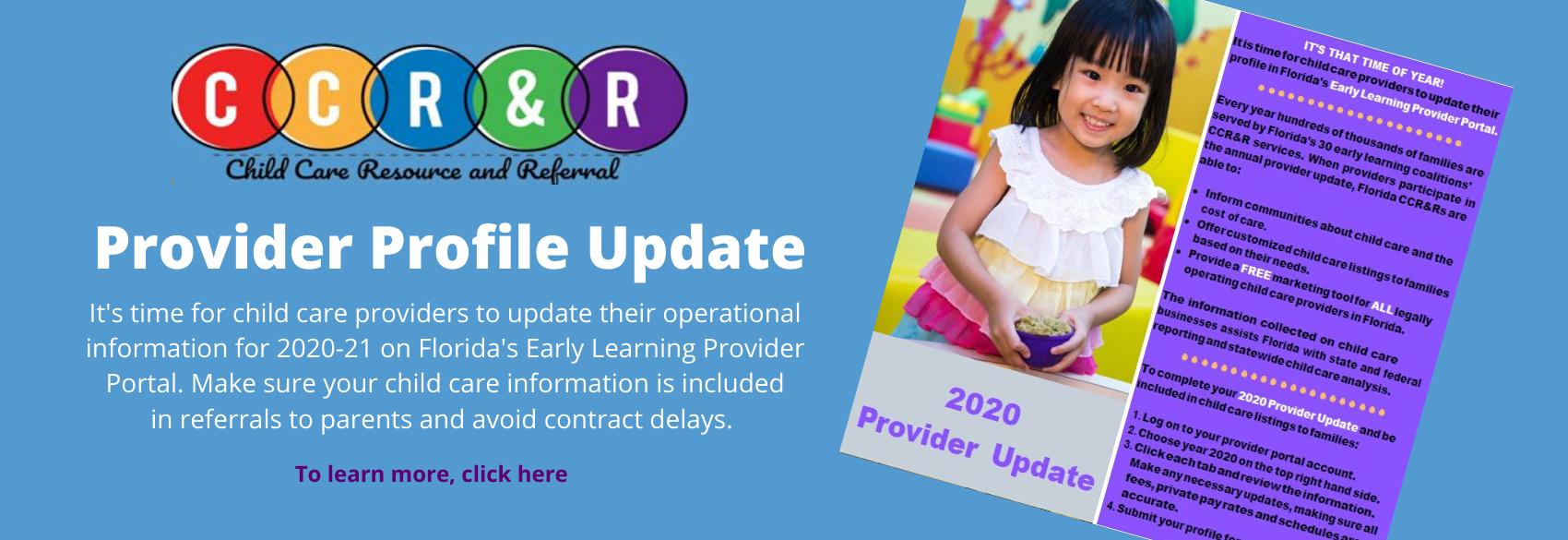 CCRR Provider Profile Update 2020