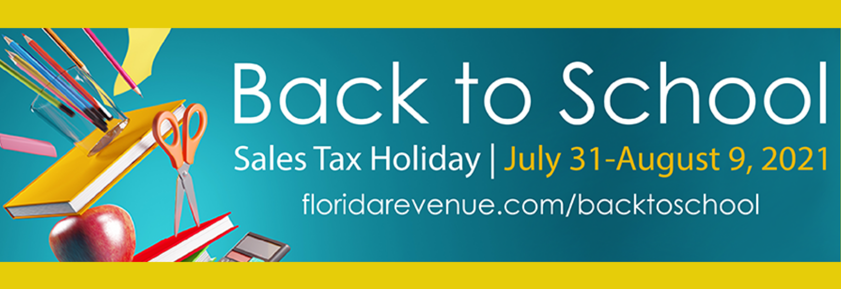 Consumers can purchase qualifying back-to-school supplies exempt from tax during the 2021 Back-to-School Sales Tax Holiday.