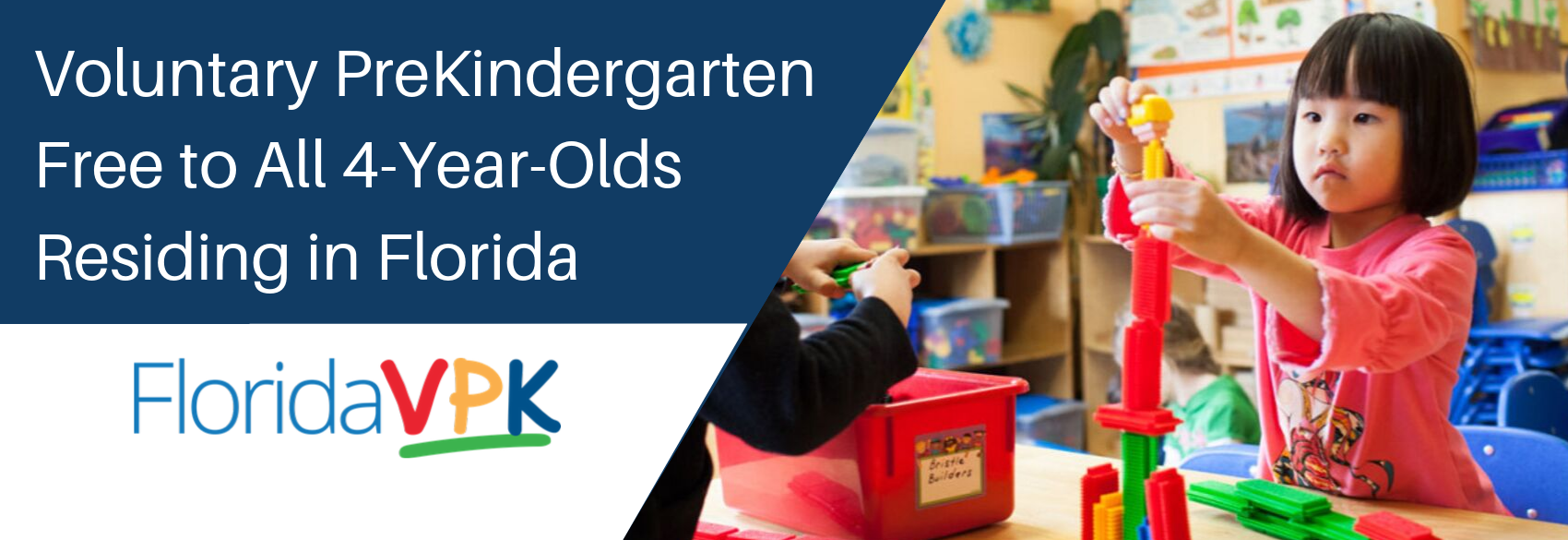 Voluntary PreKindergarten is free to all 4-year-old children residing in Florida.